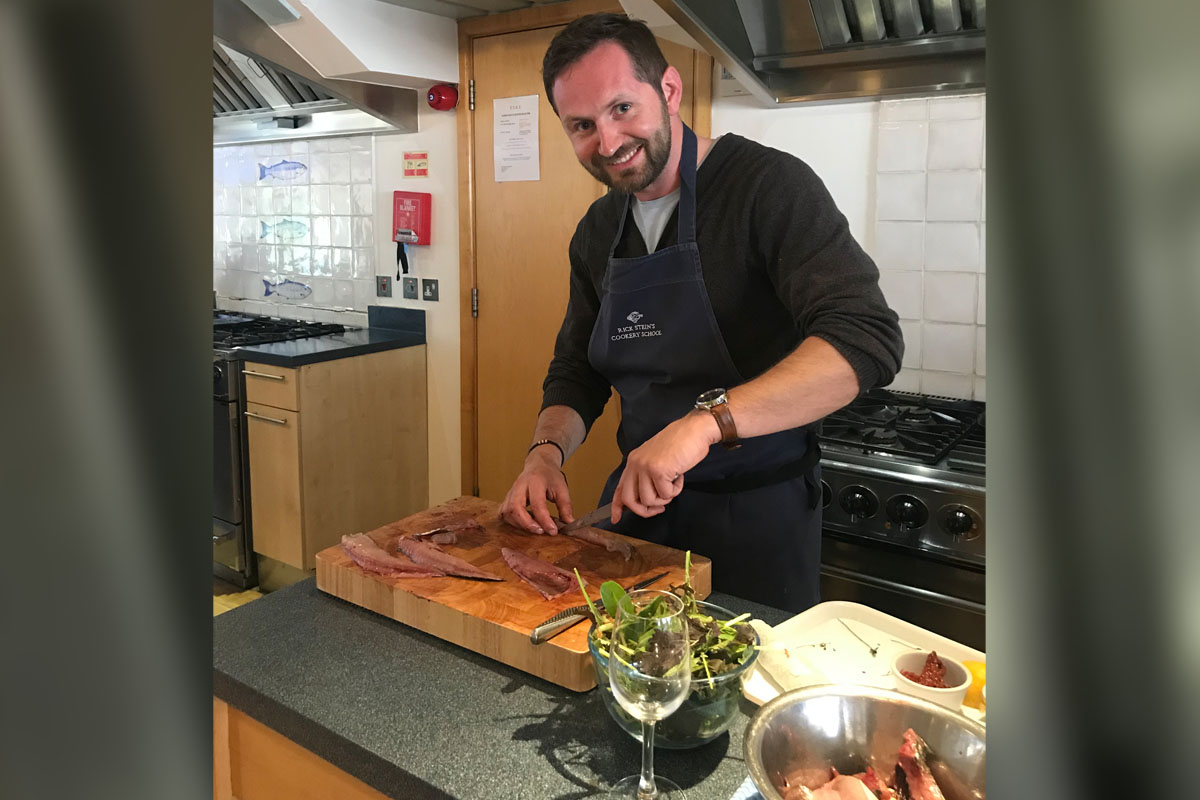 "I am a pretty decent cook, which surprises people,"" Jonathan says, seen here during a cooking class at Rick Stein's Cooking School in England."