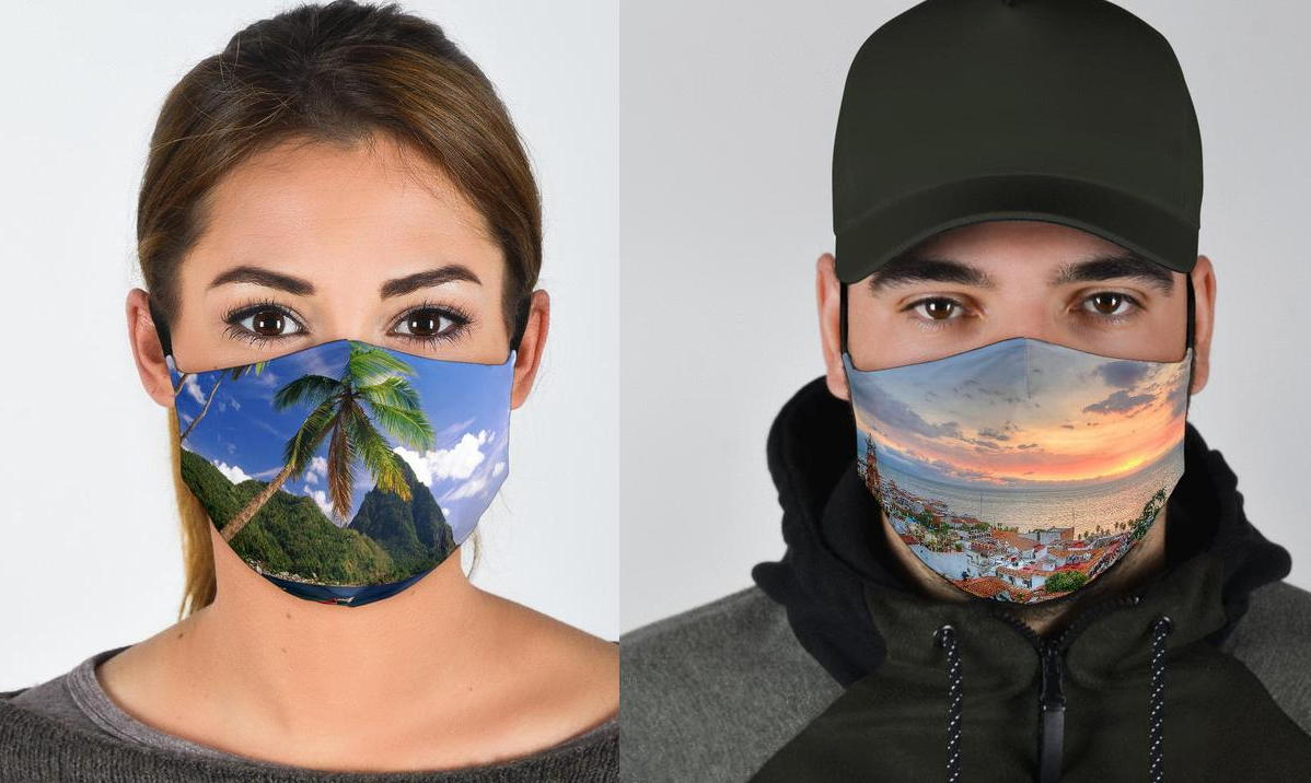 "Masks that depict destinations ""get people dreaming,"" says Keith. ""It makes people wish they were there."" (caspermasks.com)"