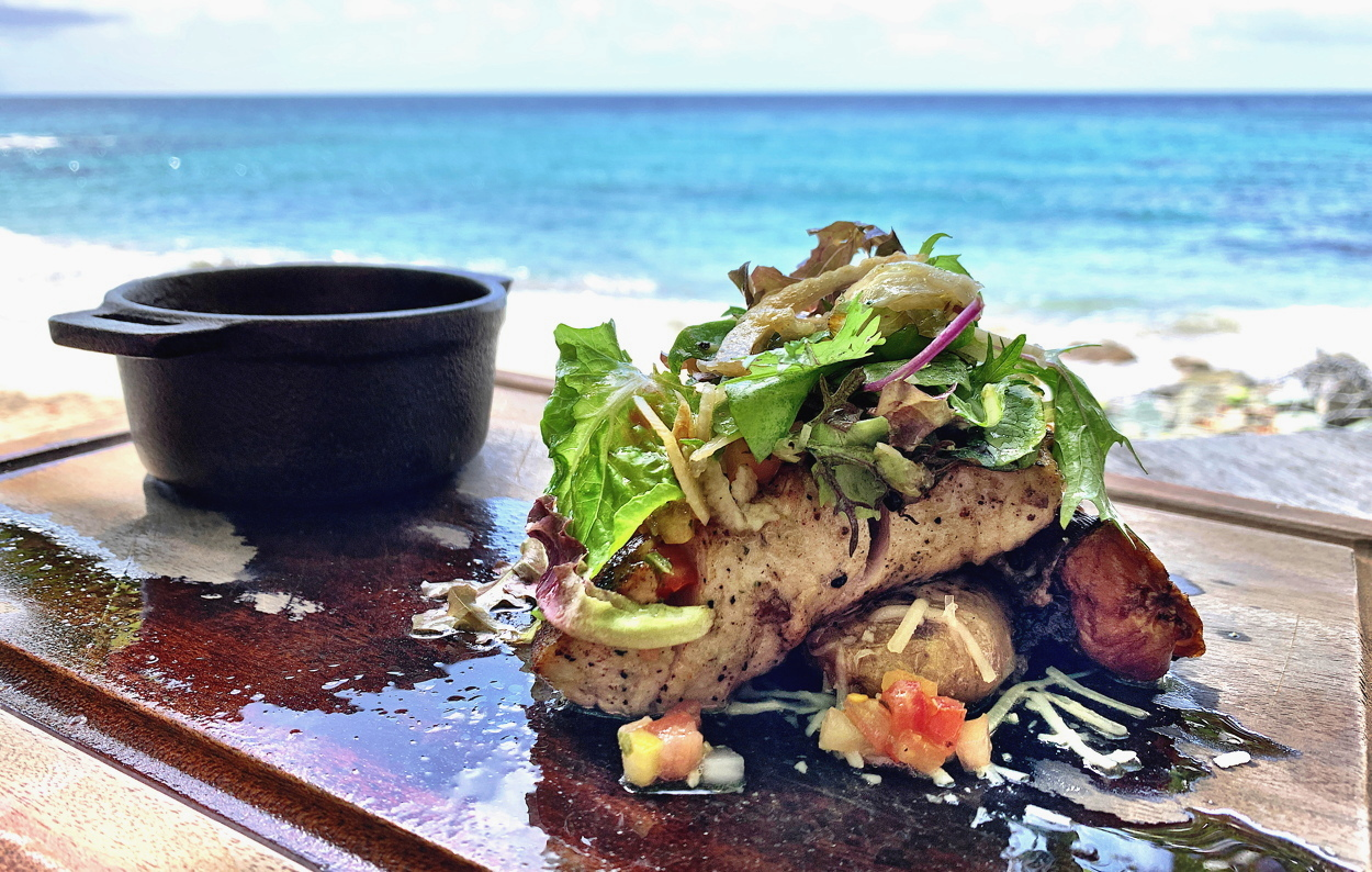 CATCH OF THE DAY. Mahi Mahi served fresh at the Naked Fisherman Bar and Grill in Saint Lucia.