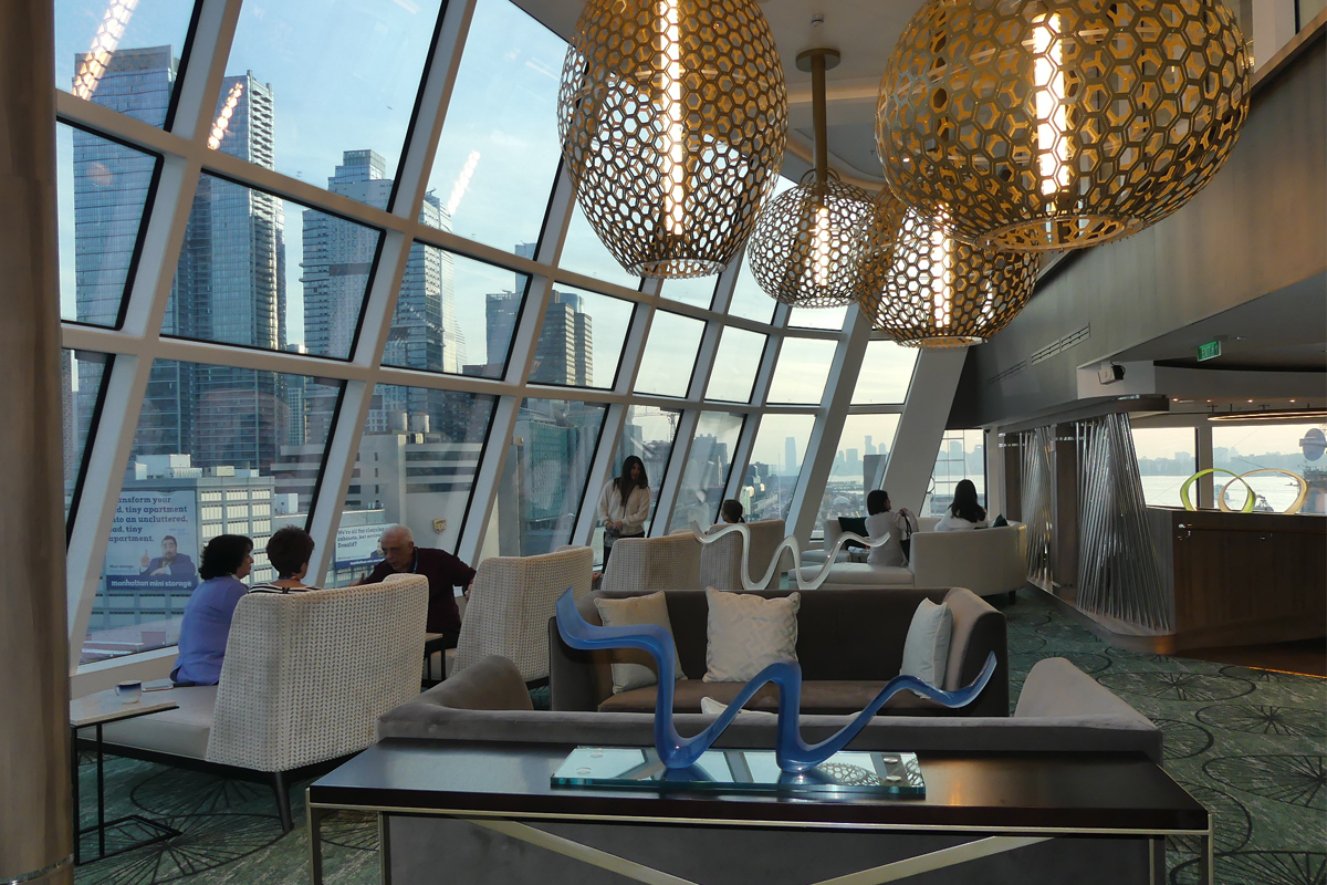 The 270° Observation Lounge has vast views, comfortable seating, snacks and a bar.