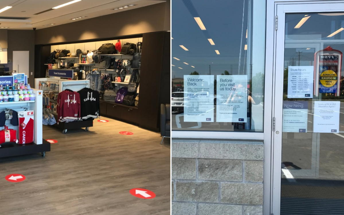 CAA's Kingston Store: on the left, floor markers advise customers on physical distancing; on the right, new signs are placed on the front doors. (Supplied)