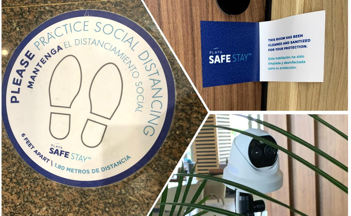 Social distancing markers (left), a Safe Stay room seal (top, right) & temperature checks (bottom, right) at Hyatt Ziva/Zilara Cap Cana.