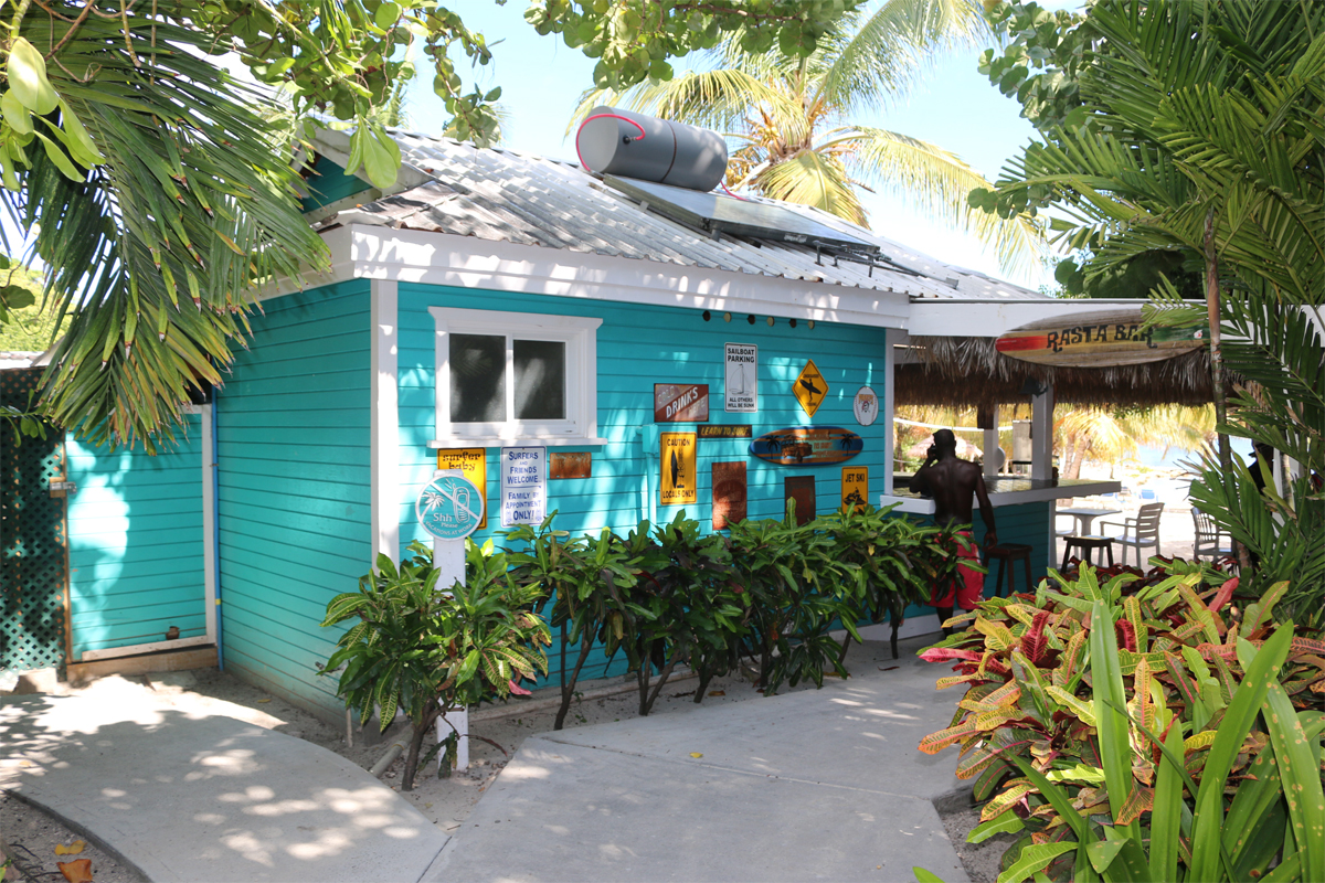 The Rasta Bar at Verandah is right on the beach.