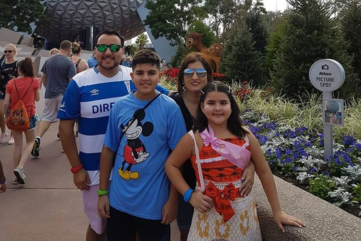 Rod and his family on vacation at Epcot, Orlando, FL.