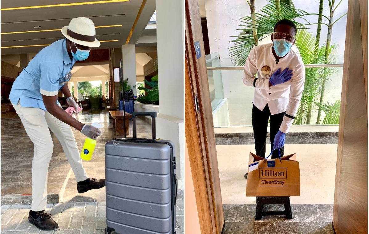Staff disinfect luggage (left); right, room service arrives in a takeout bag, left for safe pickup at the door.