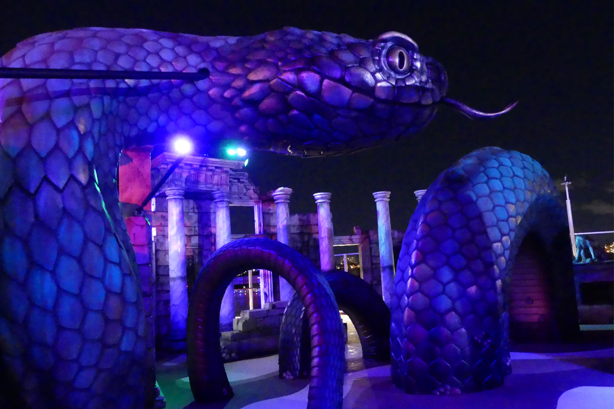 The Atlantis-themed Laser Tag course is especially fun at night with dramatic lighting.