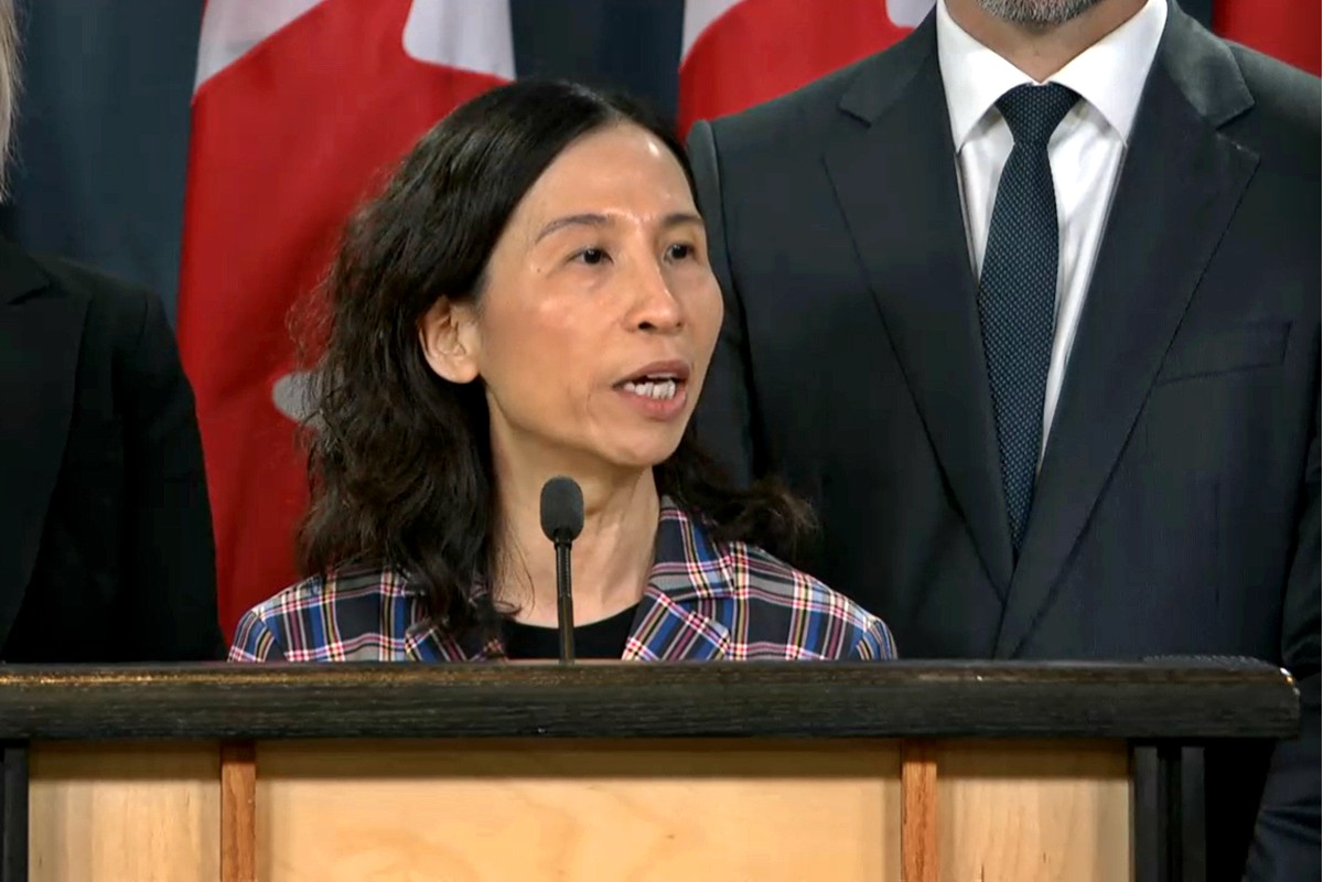 Canada's Chief Public Health Officer Dr. Theresa Tam speaks addresses journalists at this morning's press conference.