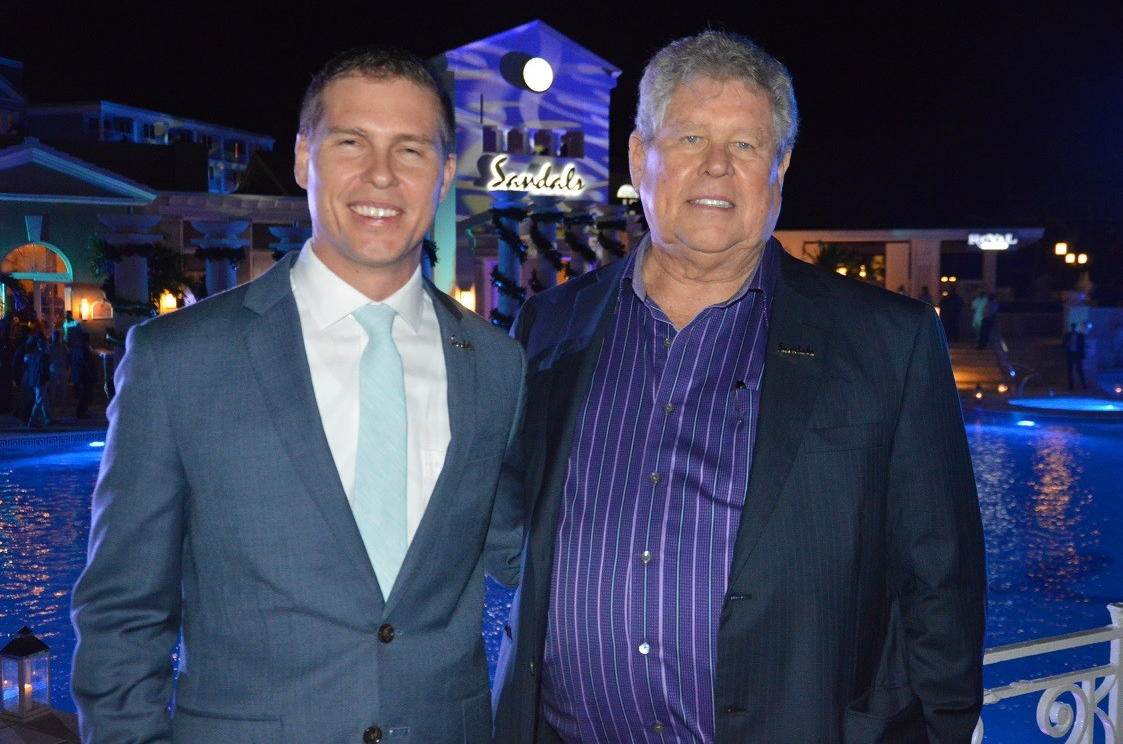 Adam Stewart and his father, Gordon 'Butch' Stewart, photographed together at Sandals Royal Bahamian in 2016. (Pax Global Media)