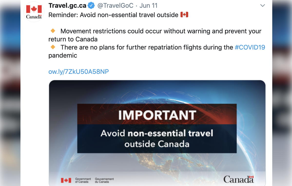 The Canadian government took to social media to remind citizens to avoid non-essential travel outside of Canada. (Twitter)
