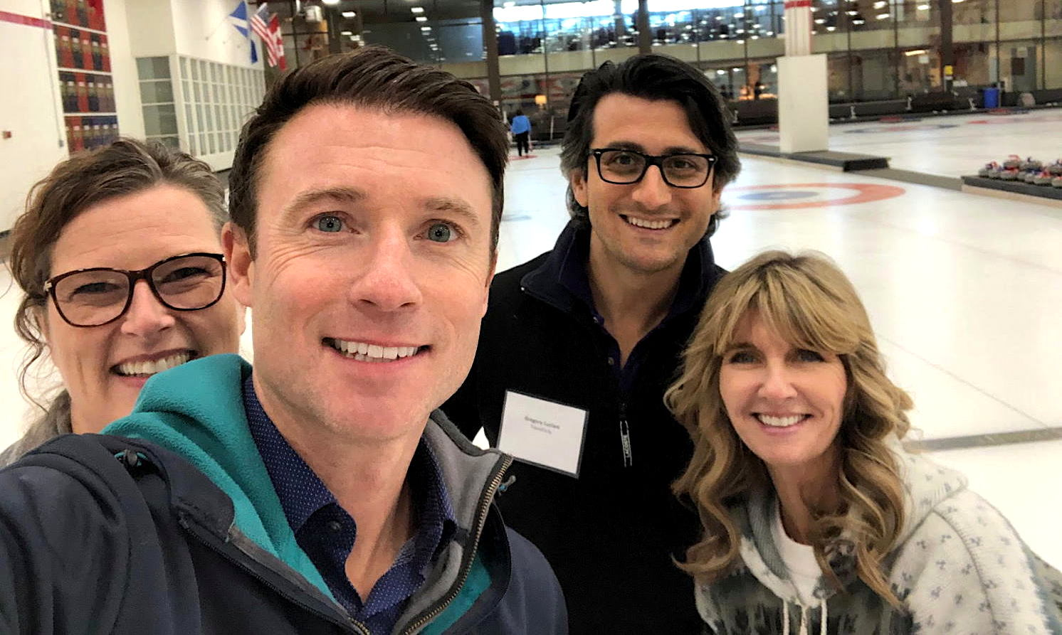 SELFIE TIME. From left: Transat's Nicole Bursey; TravelOnly's Ian Elliott, Patrick Luciani; Celebrity Cruises' Brenda Lynne Yeomans