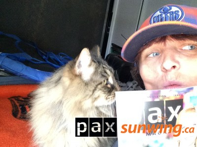 Me & kitten camping with reading material