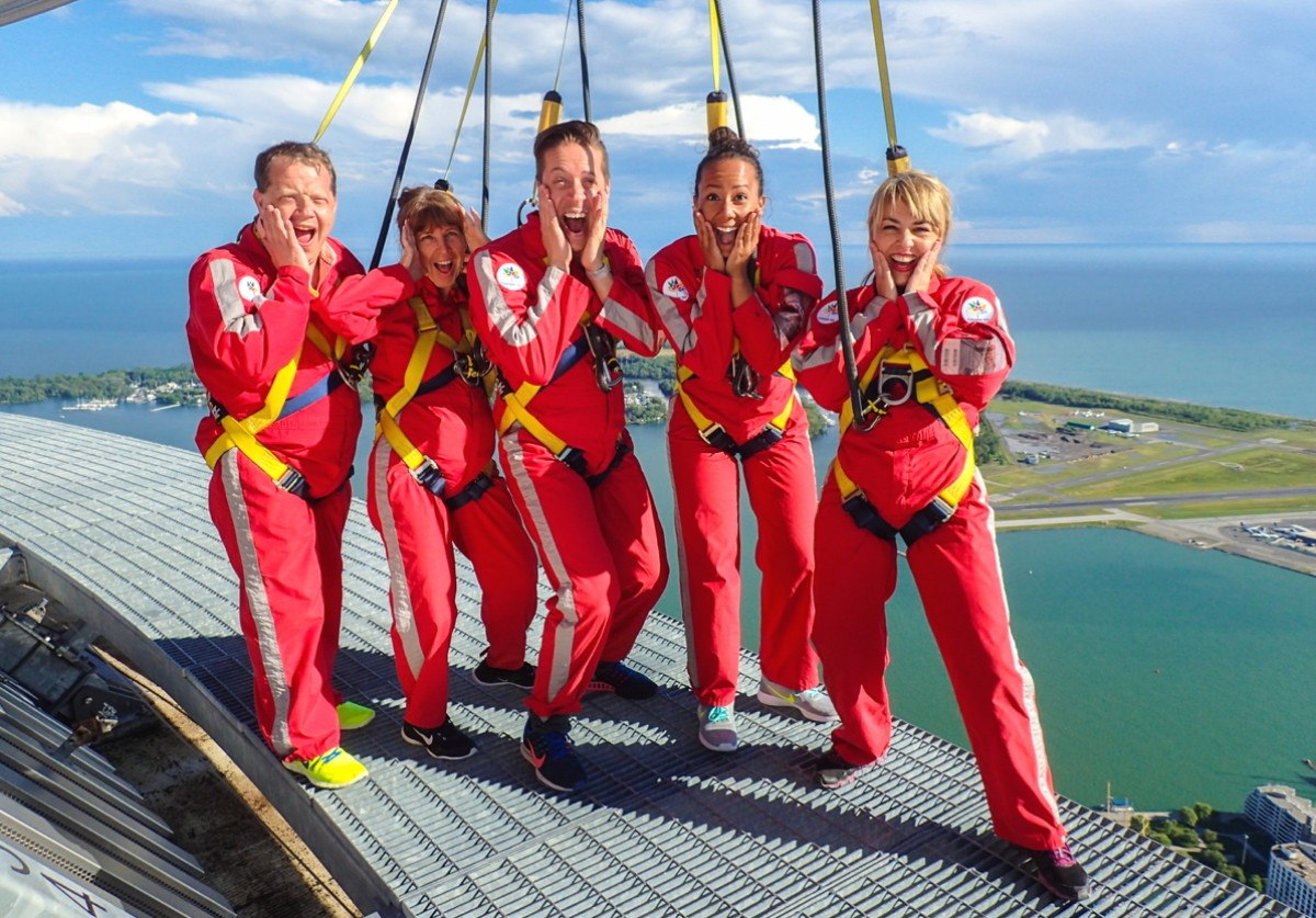 Don't look down! Celebrity honours Celebrity Edge from CN Tower EdgeWalk
