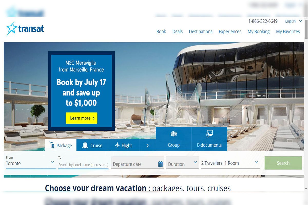 Transat unveils new-look website