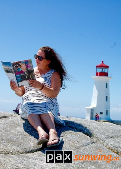 """Reading Pax with Peggy"" in Peggy's Cove, NS"