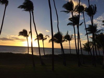 Sunset views from oceanfront condo in Kihei Maui