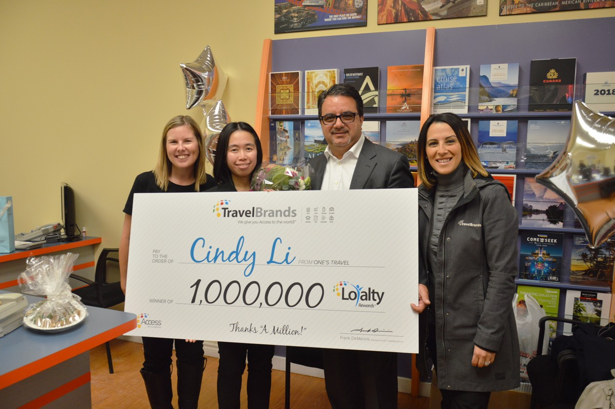 TravelBrands gives Ontario travel agent 1 million reasons to celebrate