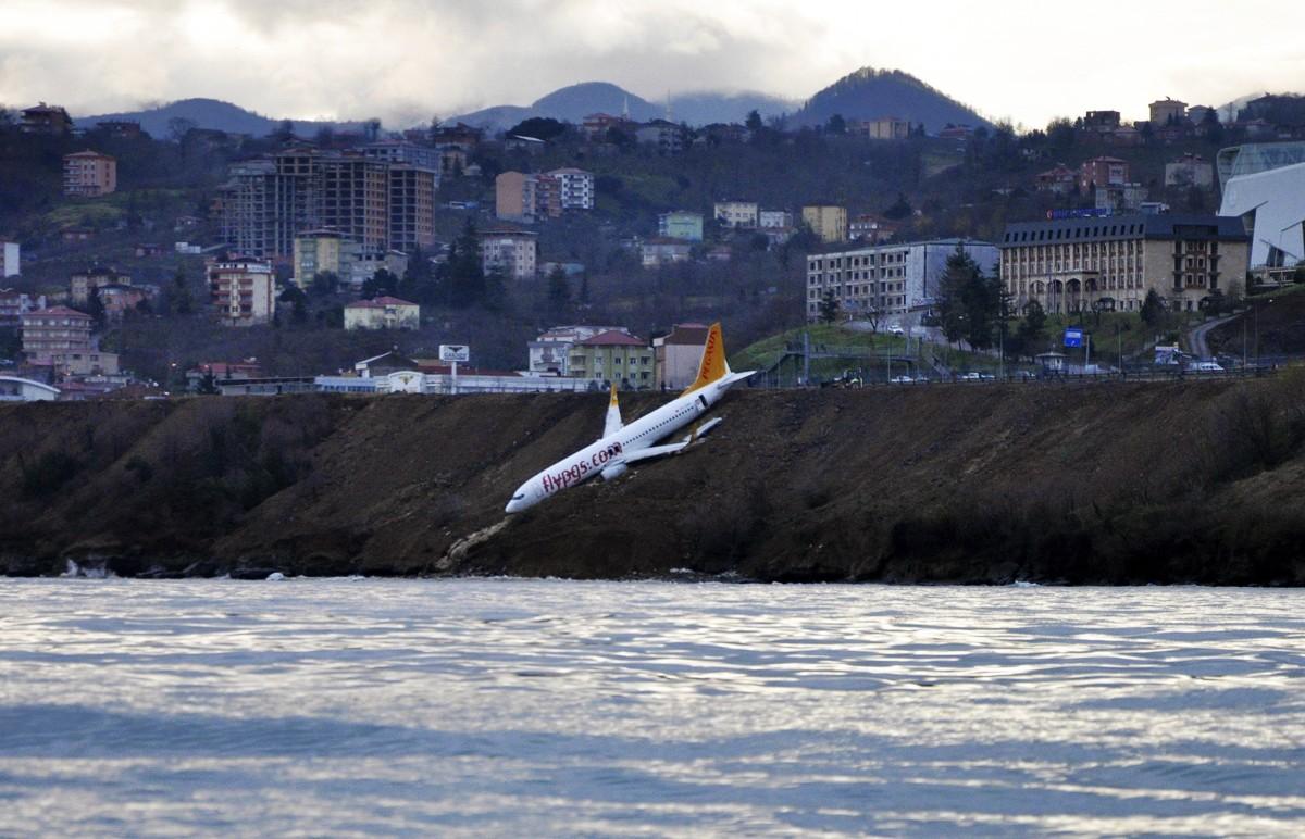 Plane slips off Turkey runway, hangs over Black Sea