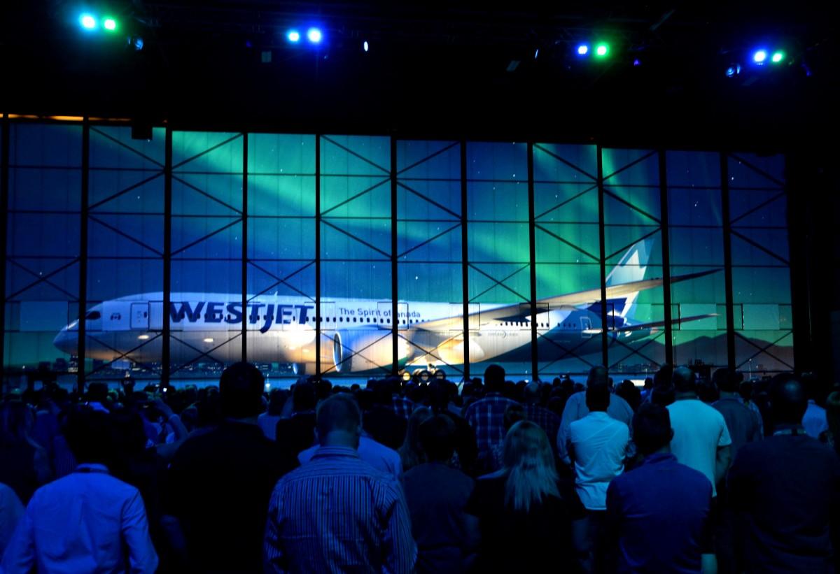 WestJet's new Boeing 787 Dreamliner unveiled in Calgary
