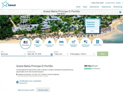 Transat's hotel pages get a fresh look