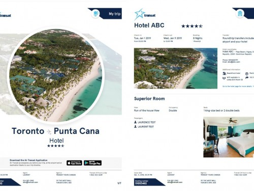 Transat customizes travel documents with new visual details