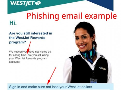WestJet warns public of phishing email scam