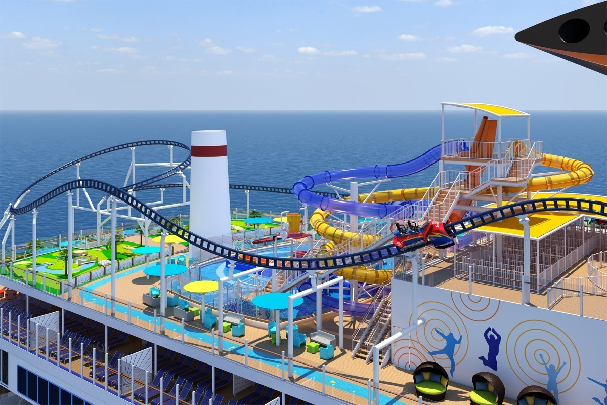 Guests will control the speed on Carnival's new roller coaster at sea