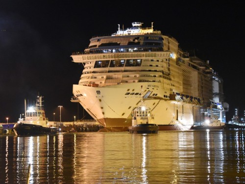 MSC Virtuosa floats out following recent Grandiosa christening
