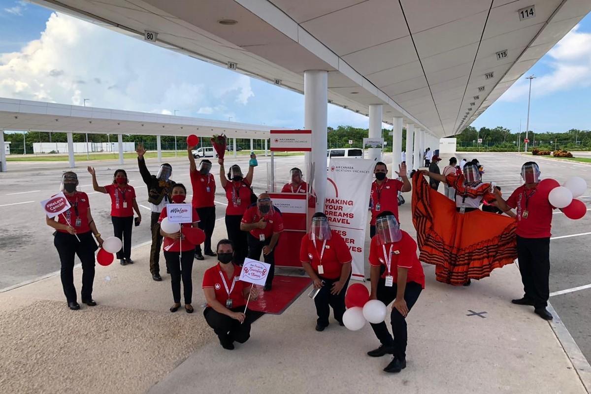 ACV celebrates first passenger flight back to Cancun