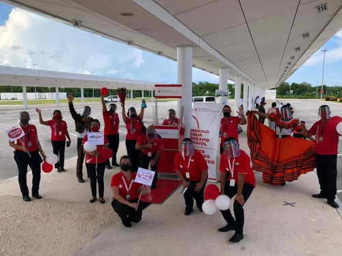 ACV celebrates first passenger flight back to Cancun