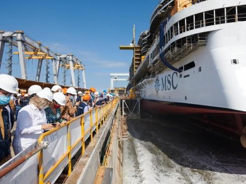 MSC Cruises, Fincantieri celebrate float out of new MSC Seashore