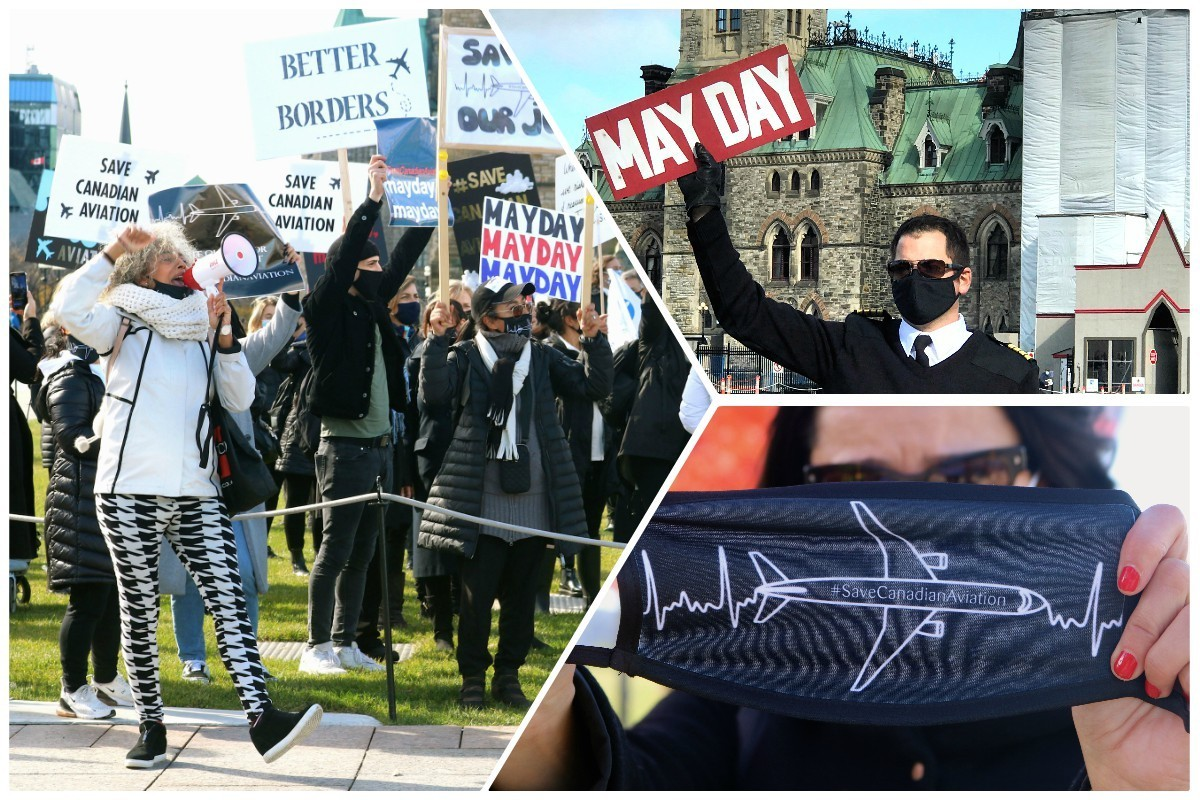 """VIDEO: """"Save Canadian aviation!"""" Airline & travel workers march in Ottawa, demand action"""