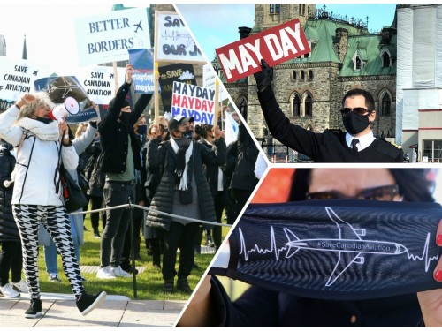 "VIDEO: ""Save Canadian aviation!"" Airline & travel workers march in Ottawa, demand action"