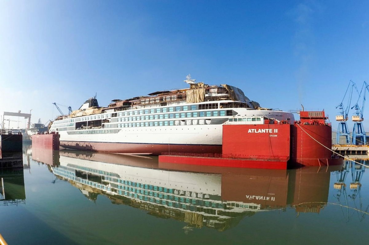 Viking marks float out of first expedition ship, coming Jan. 2022