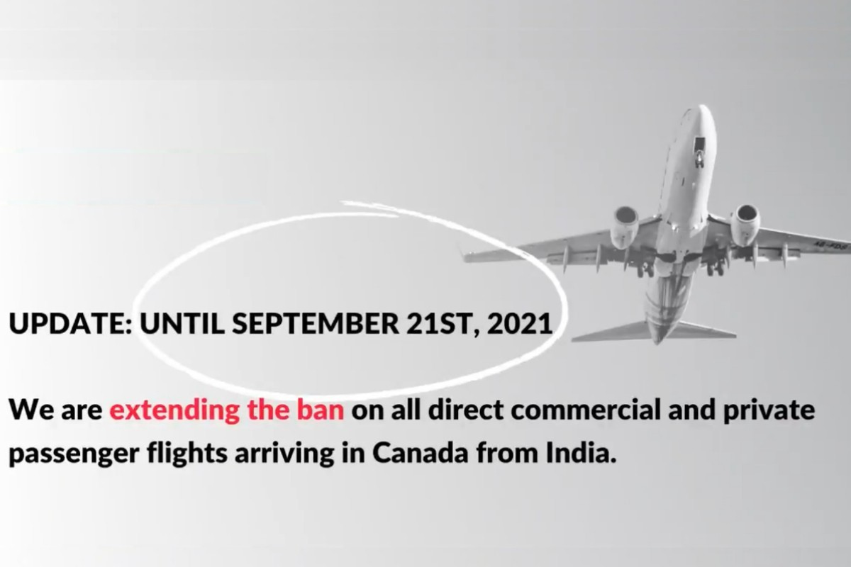 Ottawa extends flight ban on India until at least Sept. 21