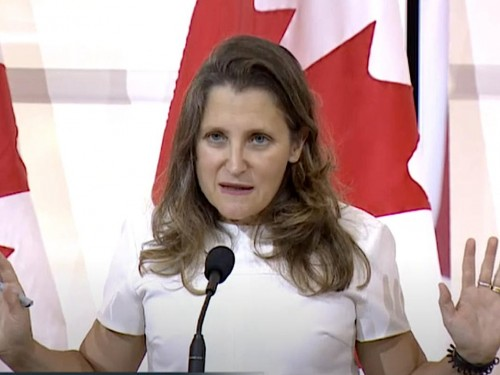 """""""The rules are the rules"""": Freeland non-committal on scrapping COVID testing at border"""
